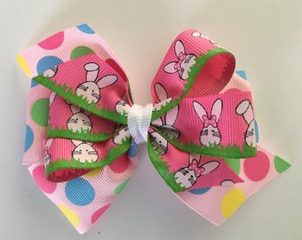 Easter Bunny Hair Bow Easter Hair Bow Easter Bow Pink Polka Dot Easter Bow with Bunnies Multi-Colored Easter Bow with Jumbo Dots Many Colors