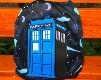 Embroidery Bum Cloth Diaper One Size Fits all Baby All-In-One Doctor Who Tardis