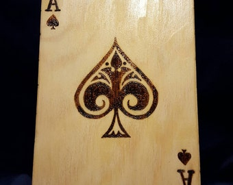 Aces - Hand Burned and Colored Wooden Card Box