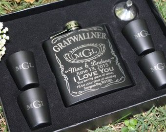 Flask Set, Anniversary Gift, Wedding Gift, Couples, Newly Weds, Whiskey Gift