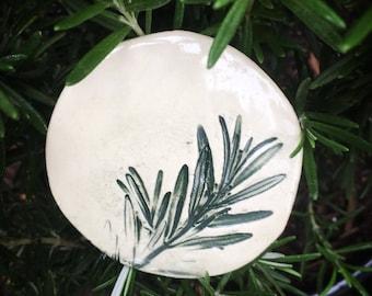 Fridge Magnet. Ceramic Magnet. Rosemary Magnet. Stoneware Magnet. Gift for Cook. Herb Garden. Gardene's Gift. Herb Magnet. Earthenware Clay