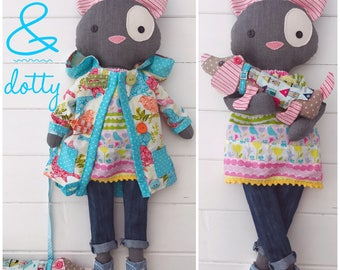 Cloth Dolls 'Pebble' Cat and 'Dotty' Dachshund with clothes and  accessories PDF Sewing Pattern