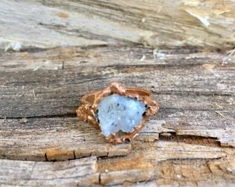 Crystal ring, Geode ring, natural ring, natural quarts crystal ring, handmade ring