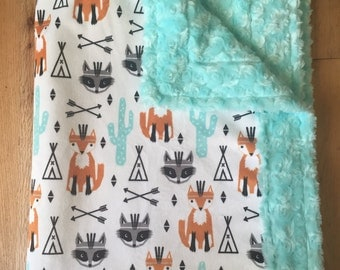 Fox & Raccoon Minky Blanket