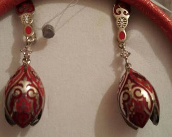 Kazakh silver tulip earrings.