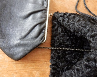 Astrakham, Black, Parisian Muff with attached leather purse, vintage and rare find