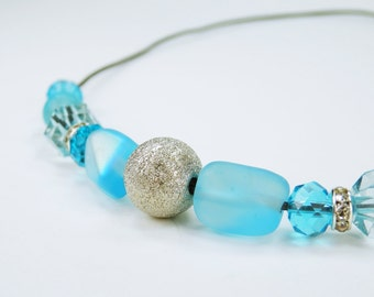 Necklace blue pearl necklace silver glittering ball on a black leather strap light blue blue jewelry