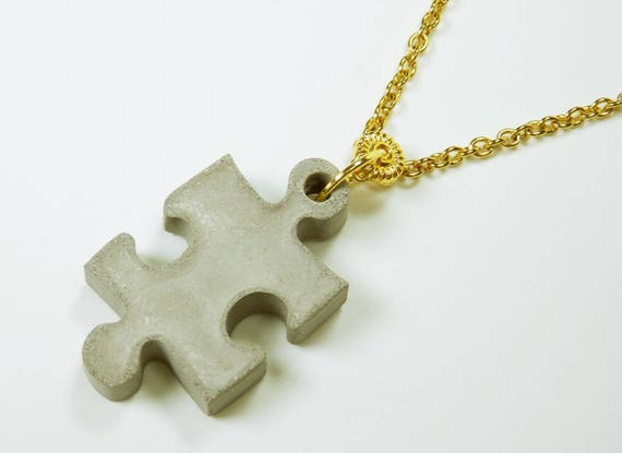 Necklace Puzzle Concrete pendant on gold-colored link chain puzzle piece jewelry concrete grey concrete jewelry Gold pearl