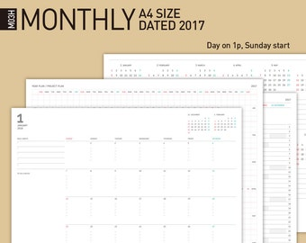 2017 Printable Monthly Calendar, Monthly Planner, Desktop Monthly calendar / A4 Size, Dated 2017.1-2018.1 / Year(Project) Planner...