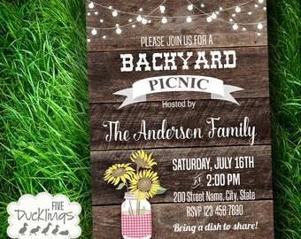Backyard Picnic invitation, Neighborhood bbq, block party, Printable Digital invite, A385
