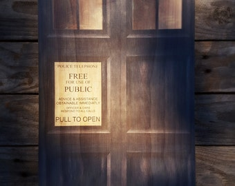 Doctor Who Tardis Door Woodblock Art