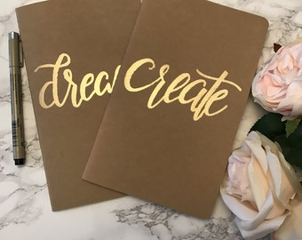 Dream | Create gold and kraft notebook | Moleskine | Embossed | Metallic