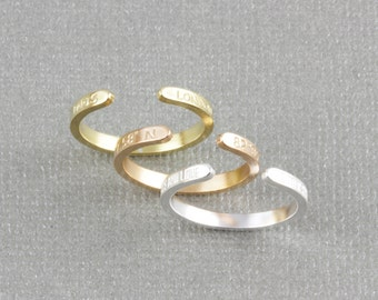Rounded skinny staking personlized ring, name ring, initial ring, date ring, word ring, coordinates ring, skinny band ring (W003)