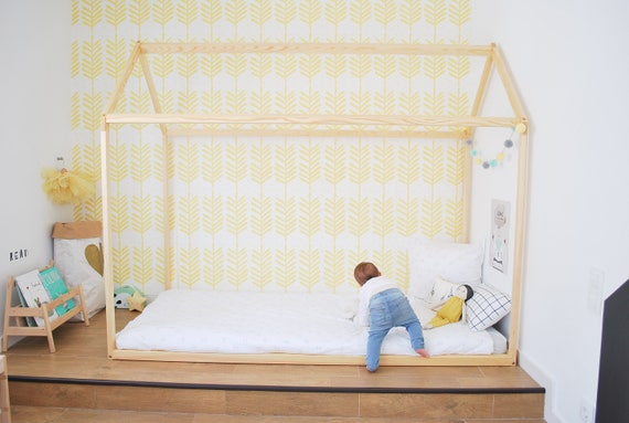 70 x 140 cm lit cabane toddler bed play house bed frame. Black Bedroom Furniture Sets. Home Design Ideas