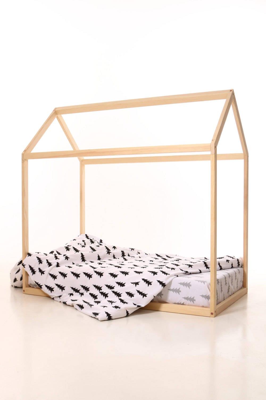 maison en bois de lit du cr che enfants 70 x 160 cm maison de. Black Bedroom Furniture Sets. Home Design Ideas