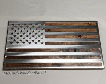 Metal American Flag mounted on wood