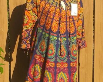 Navy Blue  Classic Mandala print Tunic/Short dress with Tassels