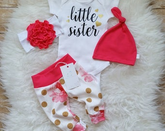 Little Sister Outfit Newborn Baby Girl Outfit  Photo Prop Coming Home Outfit Baby Girl Outfit Baby Shower Gift New Baby Gift