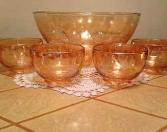 Jeannette Peach Luster Egg Nog bowl with Cups - Camellia Flower