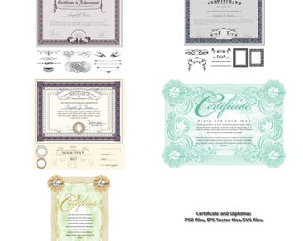 Certificate template with luxury and modern pattern,diploma,PSD files, EPS Vector files, SVG files.