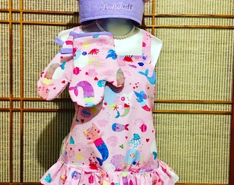 Ruffled apron, girls apron, childs apron