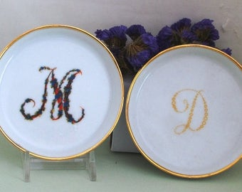 Personalized Initial Ring Trinket Dish Jewelry bridesmaid gift bachelorette earring holder monogram ring dish
