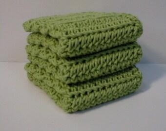 Handmade Crochet Cotton Dishcloths or Washcloths, Set of Three in Honeydew Green (Dishcloths2136)
