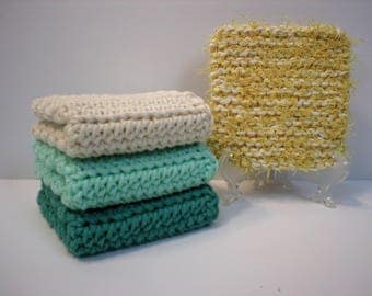 Set of 3 Crochet Cotton Dishcloths or Washcloths (Deep Sea Green, Shoreline Green, Cream) Plus 1 Knit Dish Scrubber (Yellow) (#2069)