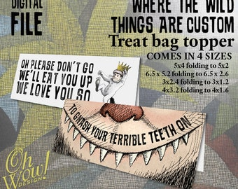 Where the Wild Things Are Party Theme Treat Bag Toppers