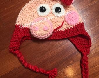 Peppa pig, peppa pig hat, peppa pig crochet pattern, pdf