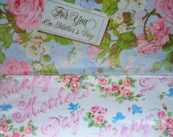 Mothers Day Gift Wrap Wrapping Paper Vintage Paper Gift Wrapping Paper 4 Sheets Floral Rose Gift Packaging Craft Supplies Scrapbook Paper