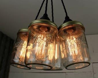 Deal : 4 Drop Pendant Lights with Le Parfait Jars