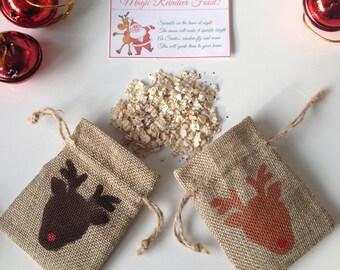Reindeer food mini gift bag hessian, jute, burlap. Tiny gift bag. Mini santa sack. christmas reindeer. Money gift bag. stocking stuffer.