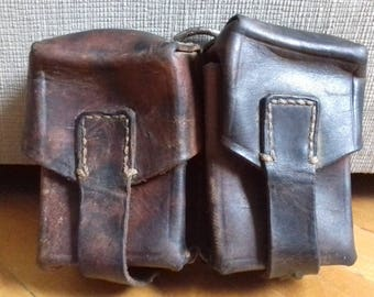 Vintage JNA army leather Mauser ammo double belt pouch from 70's
