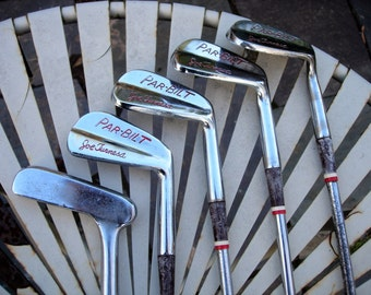 Vintage 1950's Par-Bilt Golf Clubs Four Irons and Putter Joe Turnesa