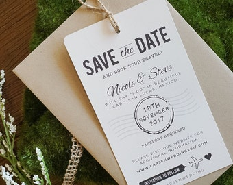 Save the Date, Set of 10, QUICK DELIVERY, Destination Wedding, Luggage Tag, Beach Wedding, Rustic, Simple, Elegant Style