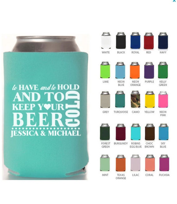 Personalized Can Coolers To Have And To Hold Wedding Favors