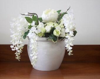 Large Marble Round White Vase / Pot