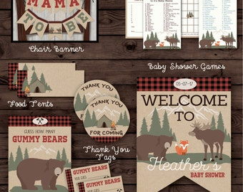 Camper Lumberjack Baby Shower, Basic Party Pack
