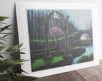 Art print of the colorful painting ' the Comforter ', on hand made paper.