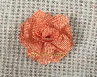 Orange Burlap Flowers, 3 inches, Burlap Flowers, Wedding Supply, Burlap Rose