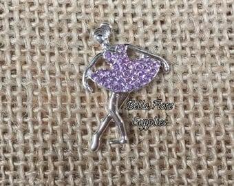 Lavender Ballerina Rhinestone Embellishment- 29mm- Rhinestone Ballerina  Flatback- Rhinestone for Headband, Craft Embellishment-Wholesale