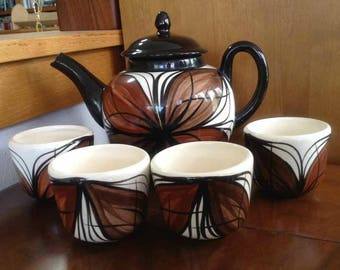 Vintage Ceramic Tapa Design Teapot with Four Teacups - Made in Maui, Hawaii - 1980's