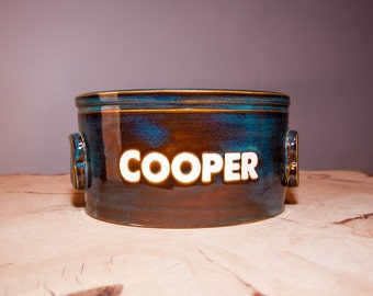 Personalized Pet Pottery Bowl, Dog or Cat food bowl, Custom Dog or Cat food bowl, Pet bowl