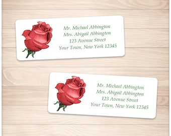 """Printable Red Rose Address Labels - Pretty Red Floral Personalized 2 5/8"""" x 1"""" Address Labels - DIY Editable PDF - Instant Download"""