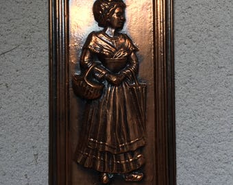 A Charming Vintage Copper Plaque of and Elegant Woman, Made in France