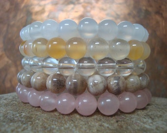 Penta Stack Stretch Bracelet LIGHT PALE gemstone Set Stimulate Metabolism Energy & Weight Loss Chalcedony and Sunstone Chakra Metal Free