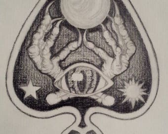 "Original Planchette graphite drawing ""Call to the Morrigan"""
