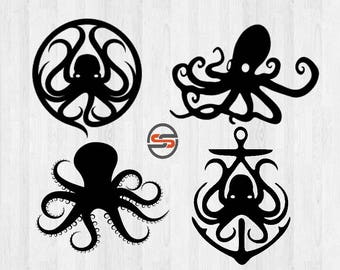 Octopus SVG, DXF, Anchor, Sea Life, Ocean, Beach, Summer Vacation, Cut Files, T-shirt Transfer, Silhouette, Cameo, Cricut, Instant Download