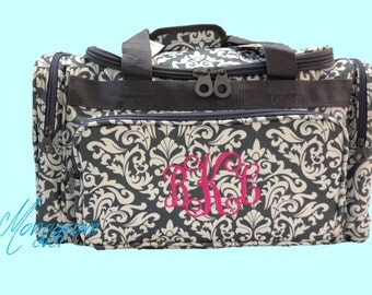 Monogrammed Duffel Bag/ Damask Gray& White/ Weekender Bag/ Overnight Bag